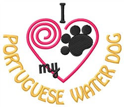 Portuguese Water Dog embroidery design